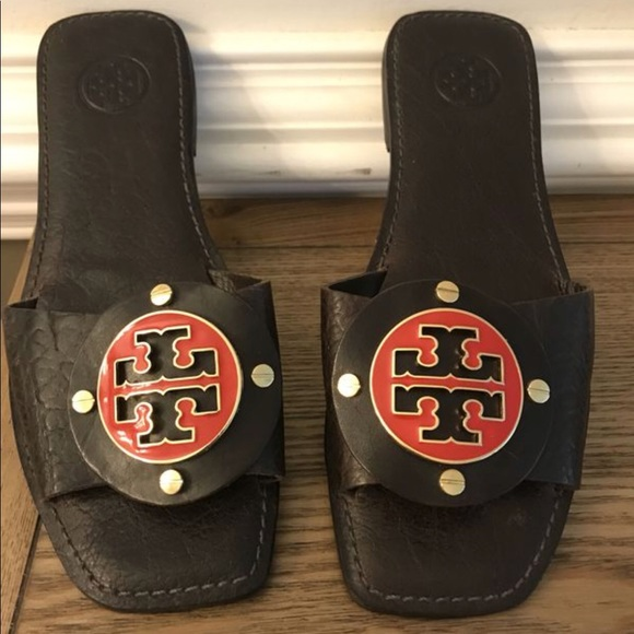 Tory Burch Shoes - Tory Burch Leather Slides with Logo